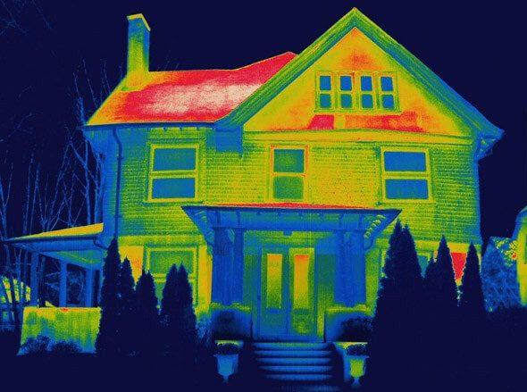 Фото дома с тепловизора